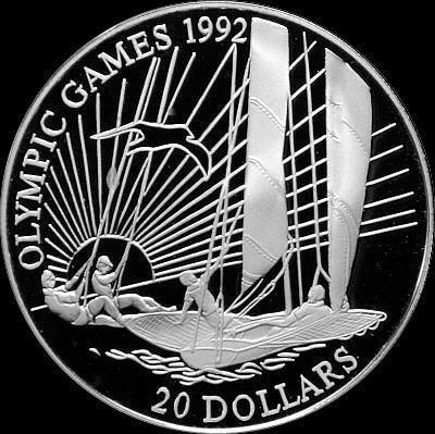 20 долларов 1992 Кирибати. Олимпиада в Барселоне 1992. Парусный спорт.
