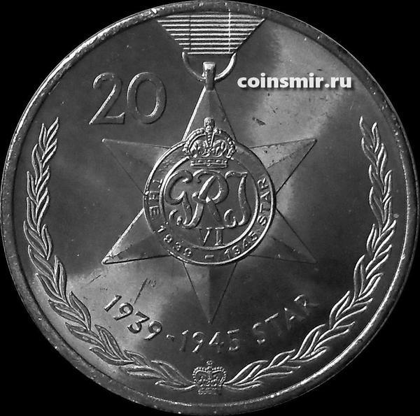 20 центов 2017 Австралия. Медали почета. Звезда 1939-1945.