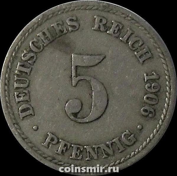 5 пфеннигов 1906 А Германия.