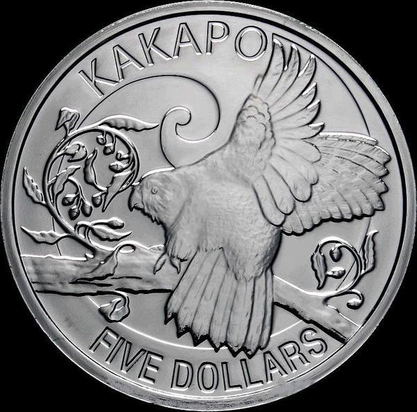 5 долларов 2009 Новая Зеландия. Попугай какапо.