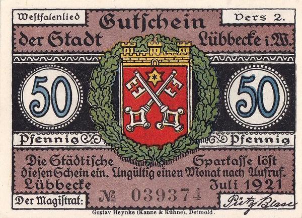 50 пфеннигов 1921 Германия. г. Люббекке (Рейн-Вестфалия). Нотгельд.