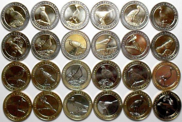 Набор из 24 монет 2019 Турция. Птицы.