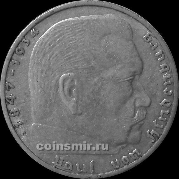 2 марки 1938 А Германия. Гинденбург. Третий Рейх.