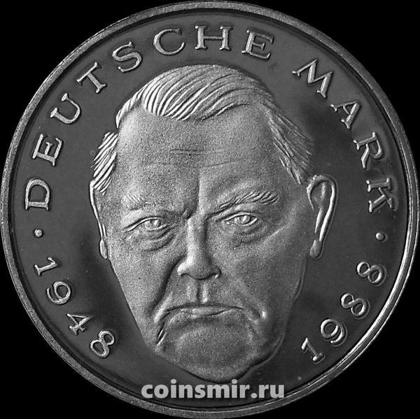 2 марки 1990 F Германия (ФРГ). Людвиг Эрхард. Пруф.
