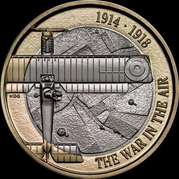 2 фунта 2017 Великобритания. Авиация в Первой мировой войне.