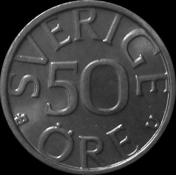 50 эре 1976 U Швеция. (в наличии 1978 год)