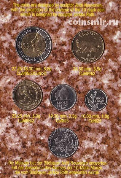 Набор из 5 монет и жетона 1999 Финляндия. Буклет.