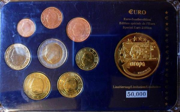 Набор евро монет 1999-2003 Бельгия. Пластик.