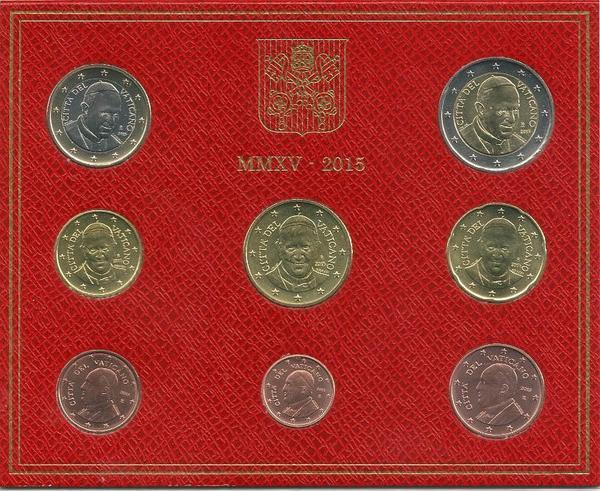 Набор евро монет 2015 Ватикан.
