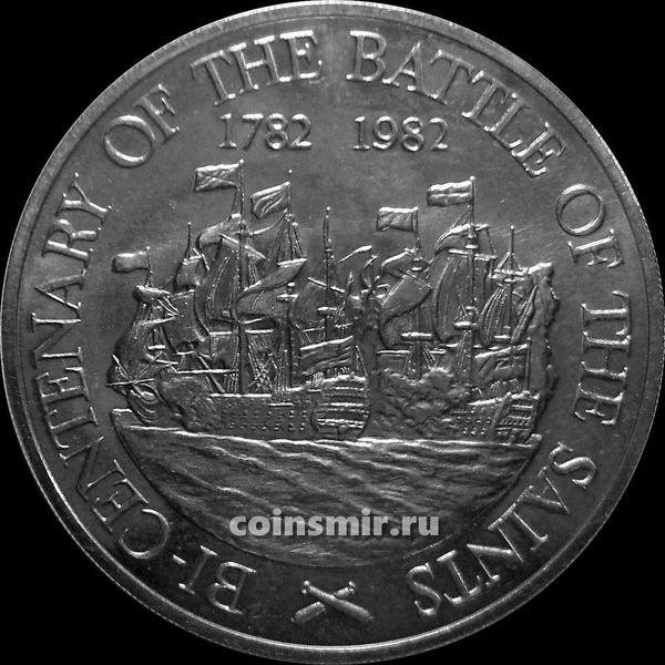 10 долларов 1982 остров Сент-Люсия. 200-летие  сражения у островов Всех Святых.
