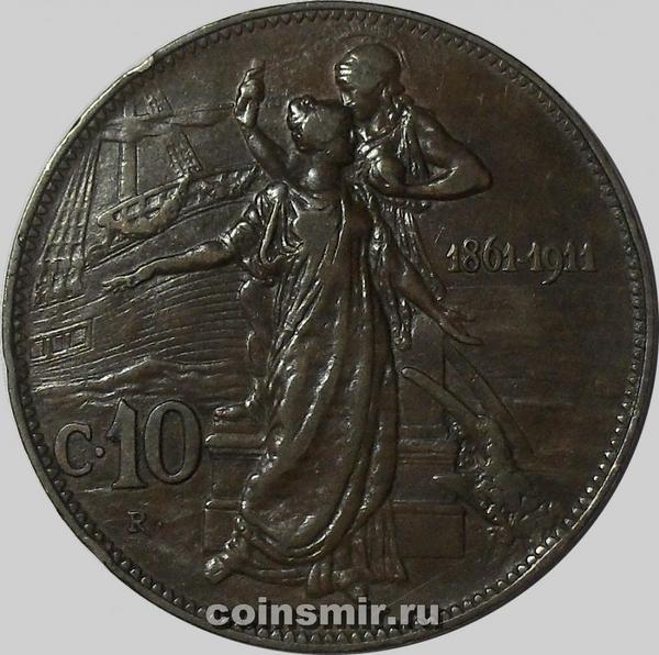10 чентезимо 1911 Италия. 50 лет Королевству.
