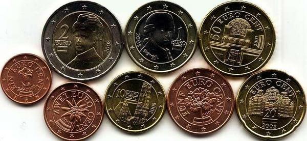 Набор евро монет 2011,2013 Австрия.
