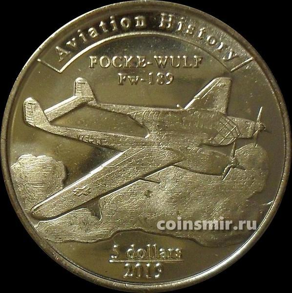 5 долларов 2019 остров Агрихан. Focke-Wulf Fw 189.