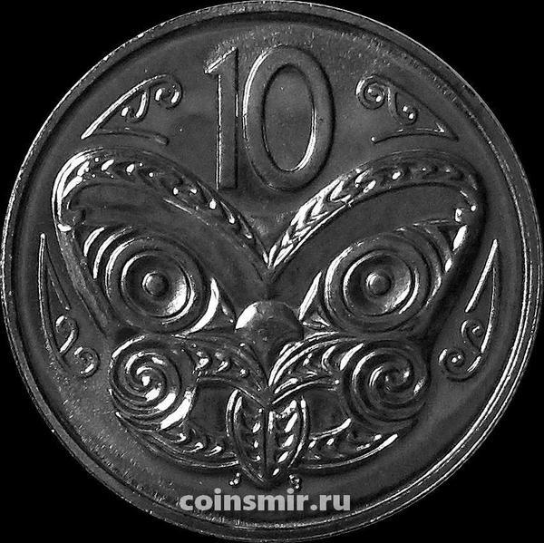 10 центов 1991 Новая Зеландия. Маска Маори.