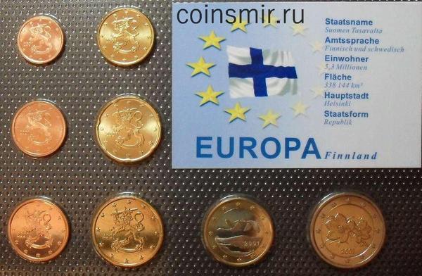 Набор евро монет 2001 Финляндия. Запайка.