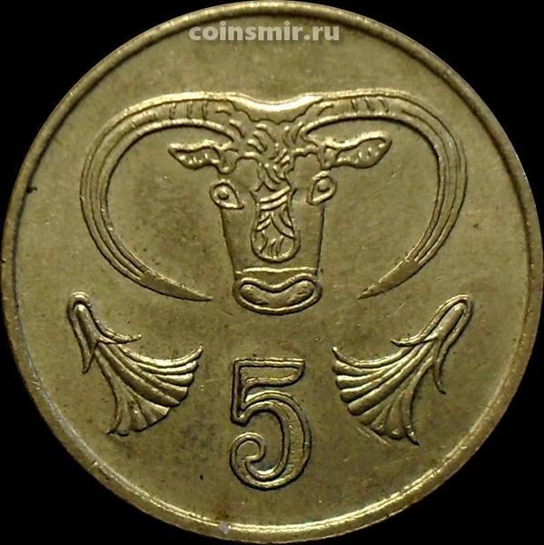 5 центов 1992 Кипр. Бык.