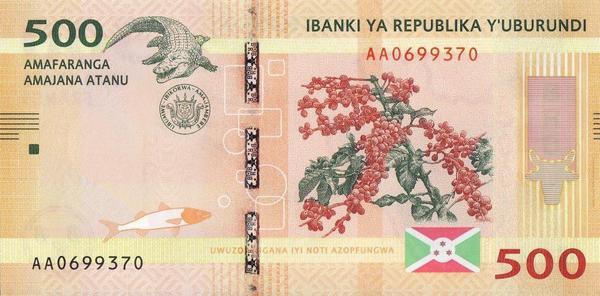 500 франков 2015 Бурунди.