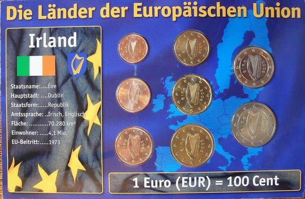 Набор евро монет  Ирландия. Блистер.