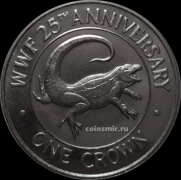 1 крона 1988 острова Тёркс и Кайкос. 25 лет фонду дикой природы. Игуана.