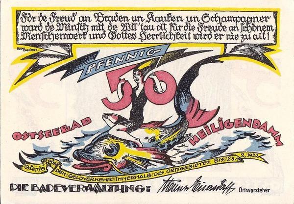 50 пфеннигов 1922 Германия. Район Хайлигендамм (Мекленбург-Передняя Померания). Нотгельд.