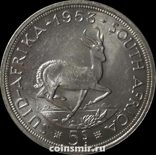 5 шиллингов 1953 Южная Африка ЮАР. Газель. Елизавета II