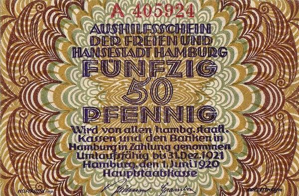 50 пфеннигов 1920 Германия. г.Гамбург. Нотгельд.