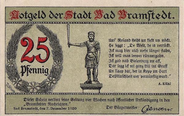 25 пфеннигов 1920 Германия. г. Бёэль (Шлезвиг-Гольштейн). Нотгельд.
