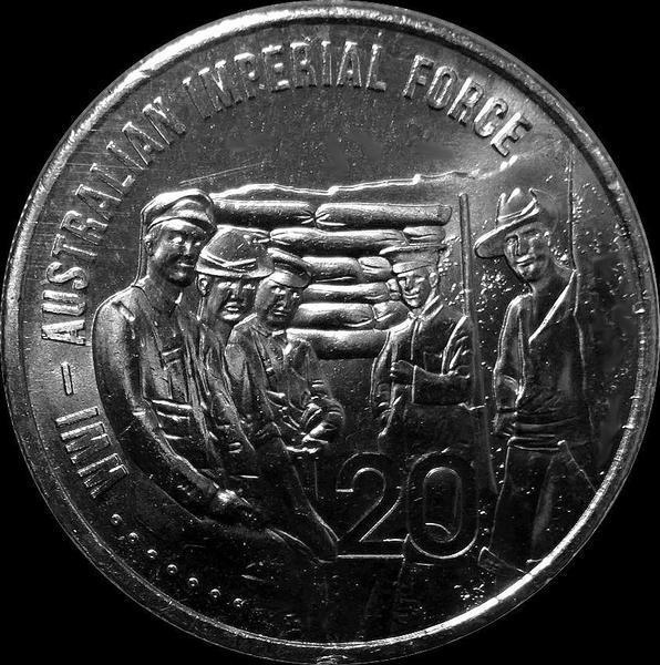 20 центов 2015 Австралия. АНЗАК - Первая Мировая Война 1914-1918. Австралийские имперские силы.
