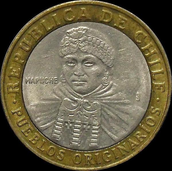 100 песо 2004 Чили.