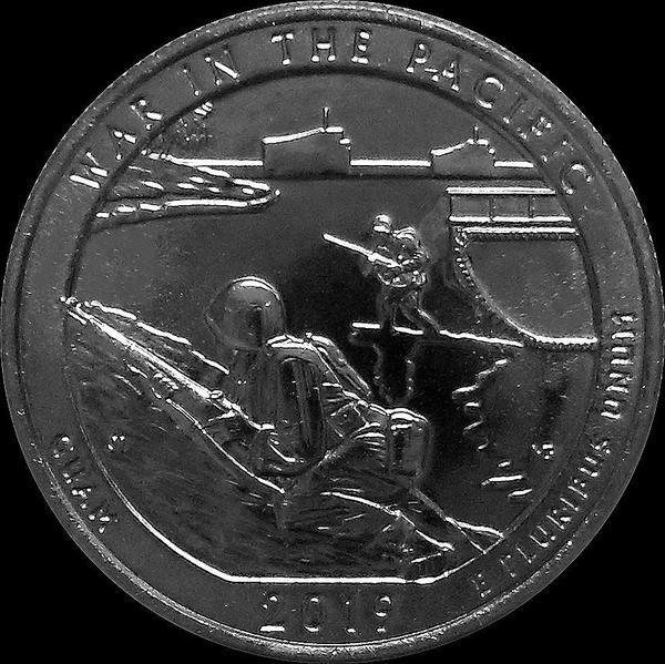 25 центов 2019 P США. Национальный монумент воинской доблести в Тихом океане. Гуам. 48-й.
