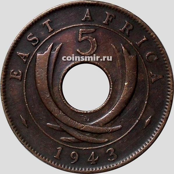 5 центов 1943 SA Британская восточная Африка.