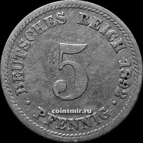 5 пфеннигов 1892 D Германия.