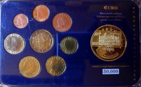 Набор евро монет 2002-2003 Люксембург. Пластик.