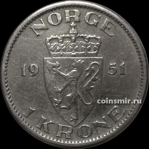 1 крона 1951 Норвегия.