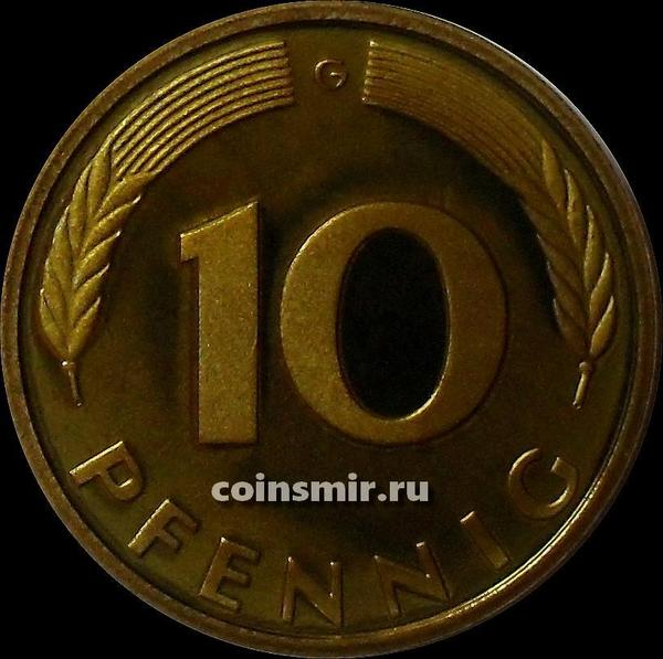 10 пфеннигов 1989 G Германия (ФРГ).  Пруф.