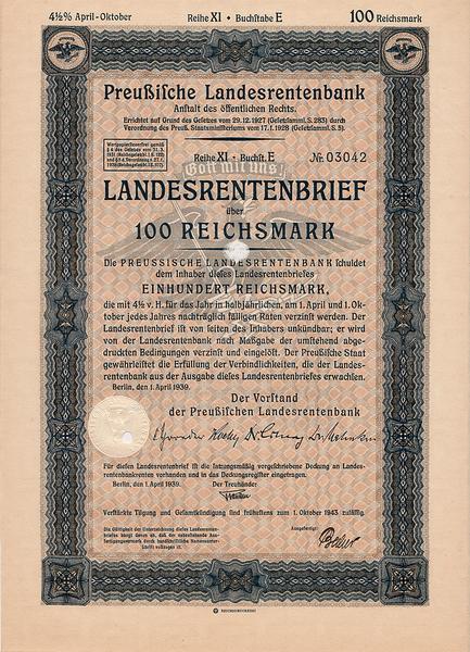 Облигация 4,5% 100 рейхсмарок 1.04.1939 Германия. Третий рейх.