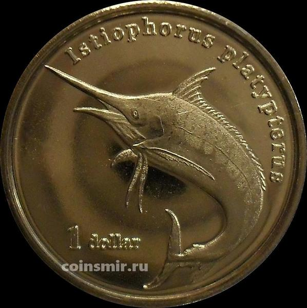 1 доллар 2020 остров Муреа. Рыба-парусник.