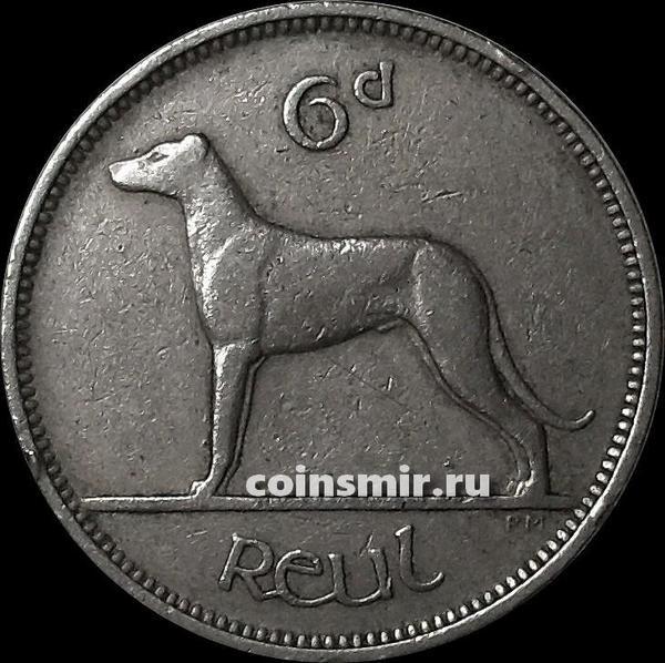 6 пенсов 1948 Ирландия. Собака.