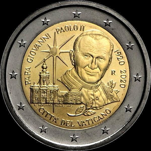 2 евро 2020 Ватикан. 100 лет со дня рождения Папы Иоанна Павла II.