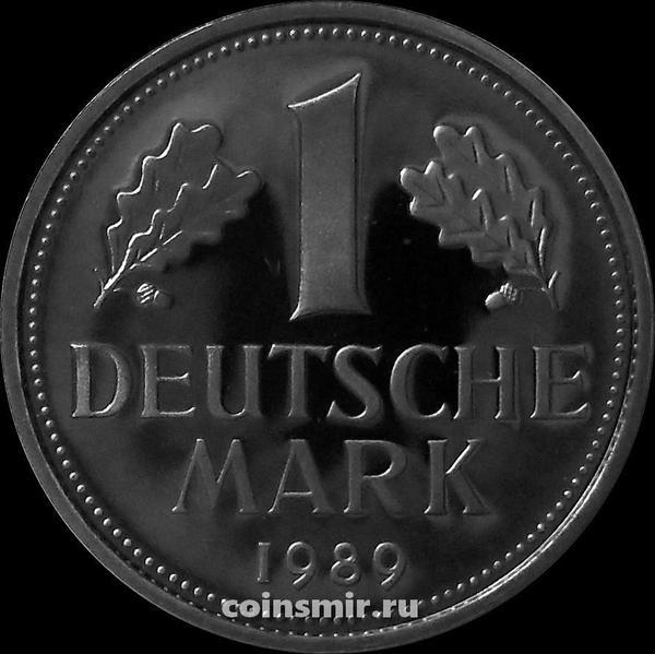 1 марка 1989 G Германия (ФРГ). Пруф.