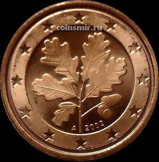 1 евроцент 2002 А Германия. Листья дуба.