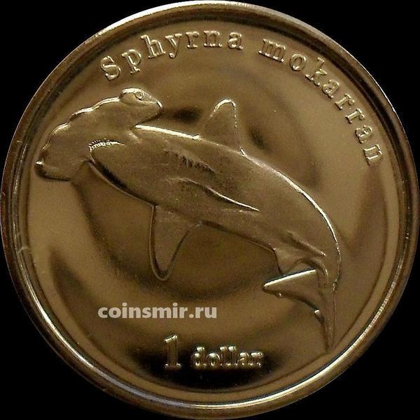 1 доллар 2020 остров Муреа. Акула-молот.