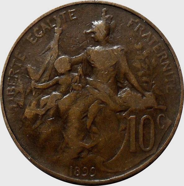 10 сантимов 1899 Франция.