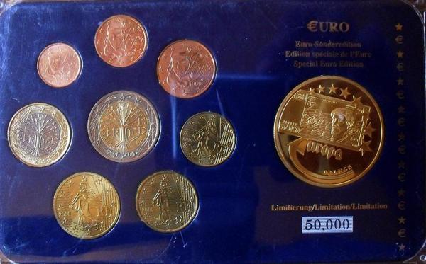 Набор евро монет 1999-2001 Франция. Пластик.