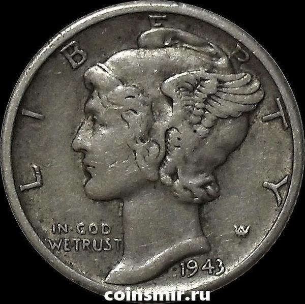 10 центов (1 дайм) 1943 D США.