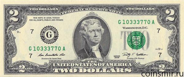 2 доллара 2009 G США.