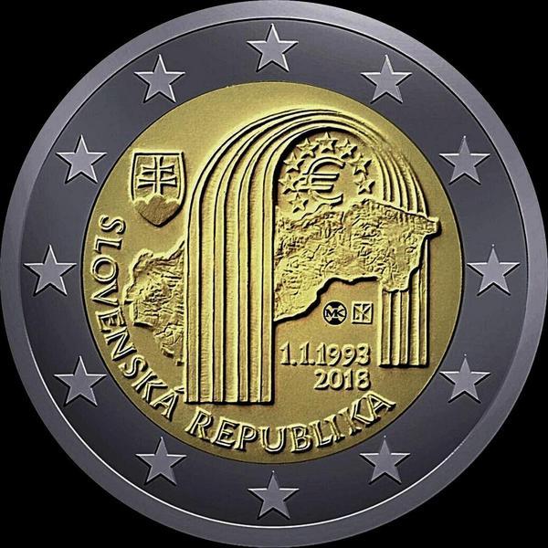 2 евро 2018 Словакия. 25 лет словацкой республике.