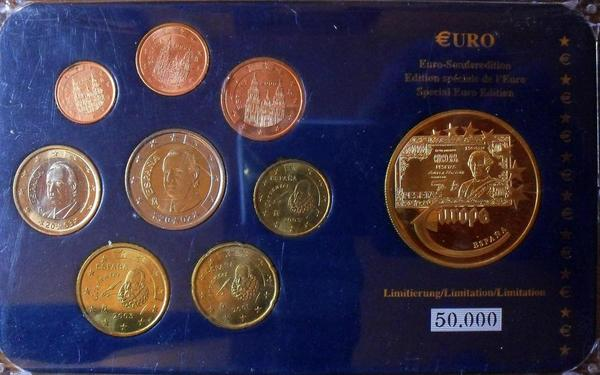 Набор евро монет 1999-2003 Испания. Пластик.