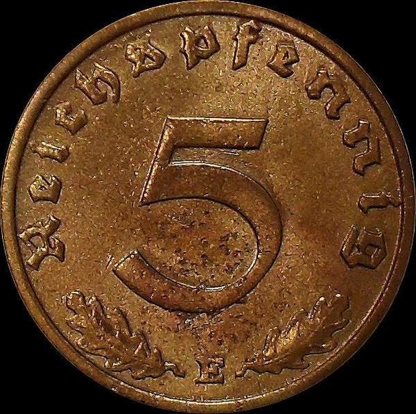 5 пфеннигов 1937 Е Германия. Состояние на фото.