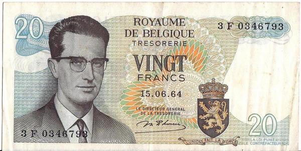 20 франков 1964 Бельгия.